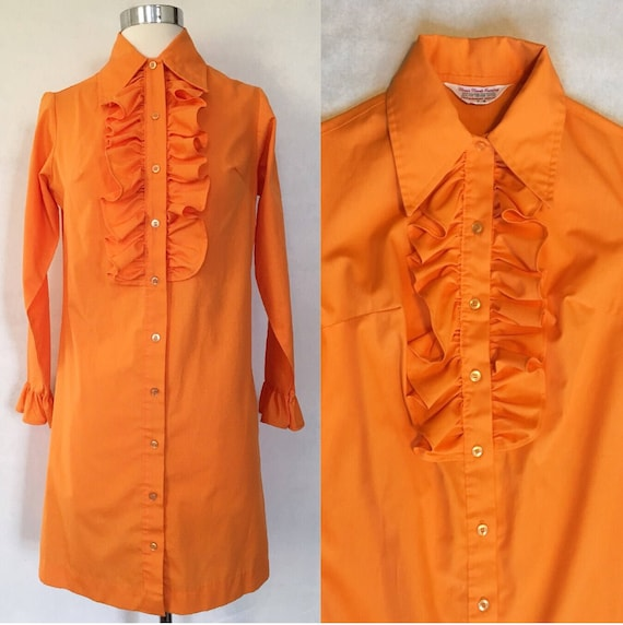 wide range pretty and colorful best Vintage 70's Halloween Orange Ruffled Tuxedo Shirtdress sz XS Cocktail Party
