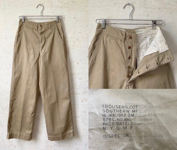 Vintage 50's Military Khaki Chino Button Fly Pants