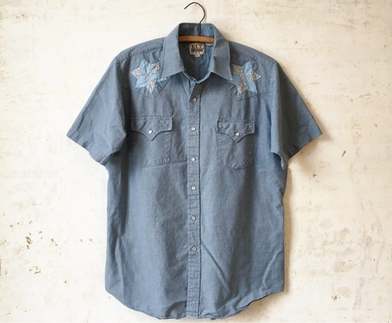 Vintage s ely chambray western shortsleeve button down etsy