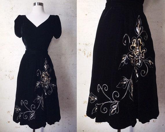 Vintage 40's 50's Madalyn Miller Black Silk Velvet