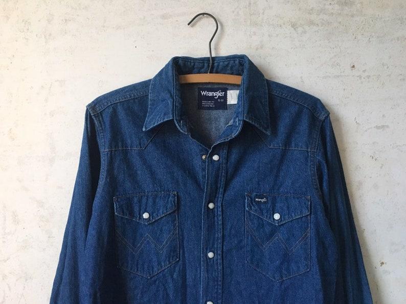017d106f5f8 Vintage 70 s Wrangler Dark Denim Western Cowboy Shirt Mens