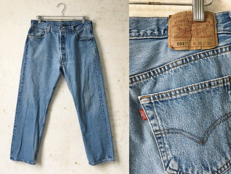 531531d2 Vintage 80's Levi's Light wash Red Tab 501 Jeans Mens | Etsy