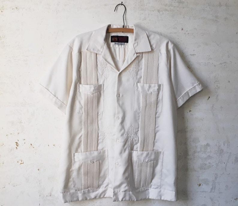 Mexican Wedding Shirt.Vintage Guayabera Yuteca Embroidered Mexican Wedding Shirt Satin Copacabana Mens Xl White