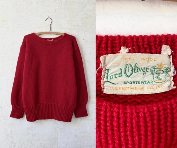 Vintage 40's 50's Lord Oliver Red Shaker Knit Pull
