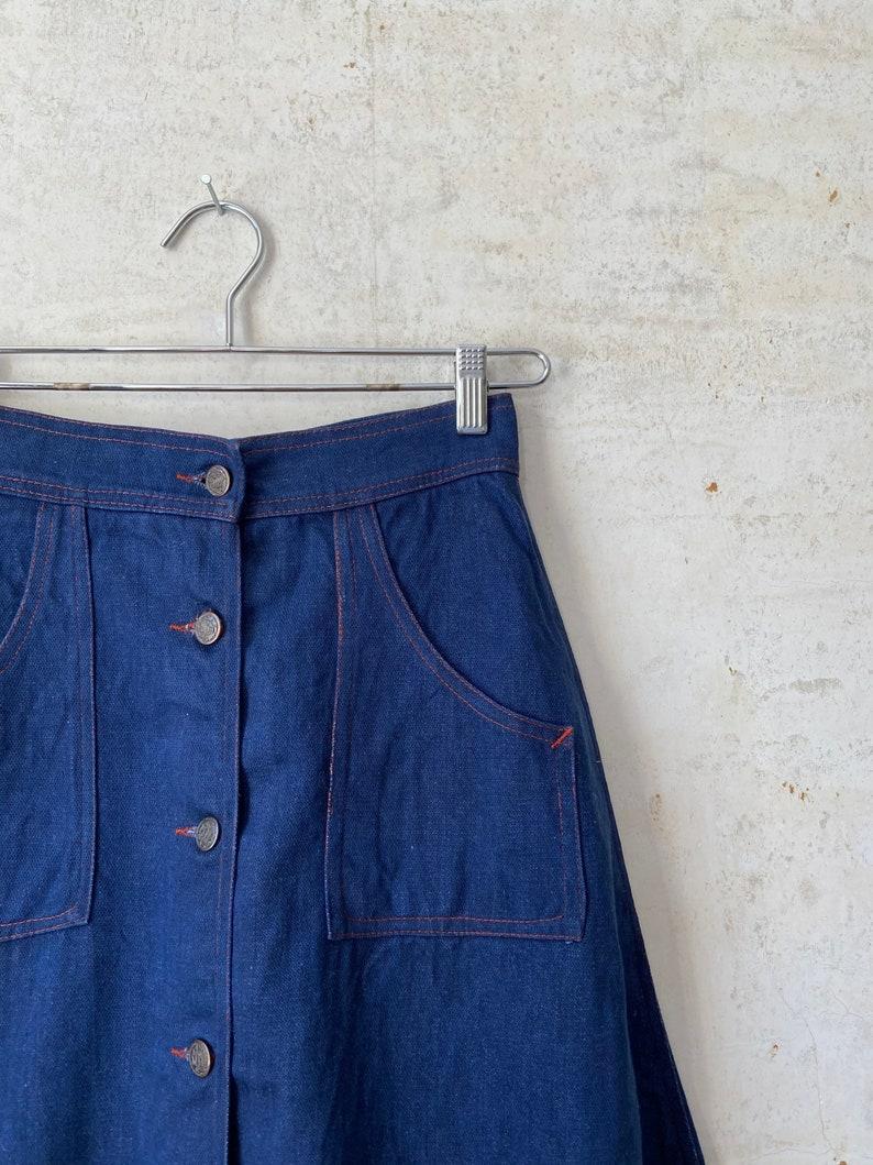 Vintage 70\u2019s Utility Pocket A Line Denim Skirt sz 26\u201d Waist Sm Xs