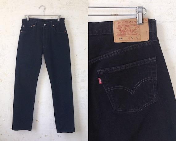 Vintage Levi's 501 Red Tab Black Denim Jeans sz 34