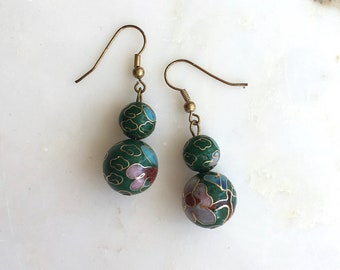 Owari earrings | cloisonné earrings | chinoiserie drop earrings