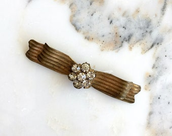 Glass and Brass brooch | vintage 30s brooch | 30s bow pin