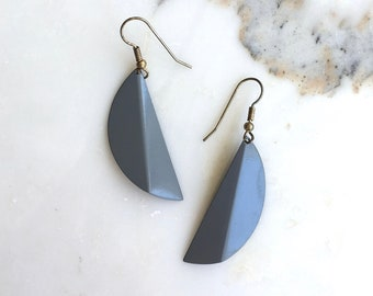 Fold earrings | vintage metal earrings | painted dangle earrings