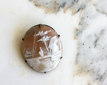Victorian Rebecca at the Well brooch | antique cameo brooch | 1800s Victorian cameo pin