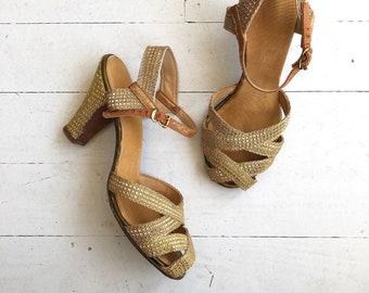 Gold Mesh heels | 1930s shoes | vintage 30s shoes