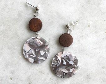 Tesse earrings | vintage acrylic earrings | wood statement earrings