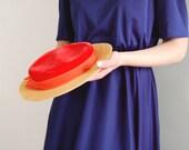 vintage Flat Brimmed BOATER Hat by John Wanamaker