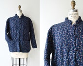 Indigo floral quilted jacket short cotton quilted jacket