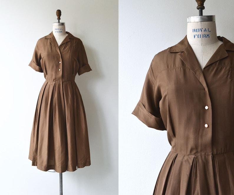 Walnut silk shirtwaist  1950s shirtdress  vintage 50s silk image 0