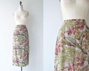 floral linen midi skirt | long floral skirt | floral print maxi skirt