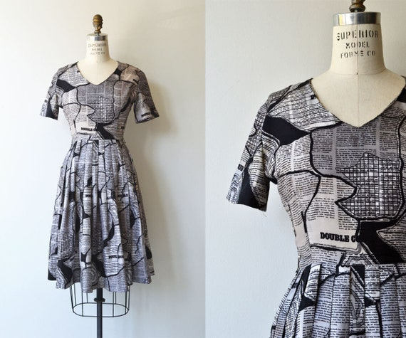 Crosswords dress | 1950s dress | novelty print 50s