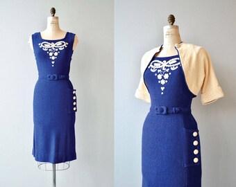 Tantamount knit dress | vintage 1950s knit dress | wool knit 50s dress and jacket