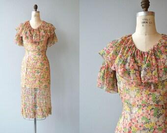 Luana silk floral dress | vintage 1930s floral dress | silk chiffon 30s dress