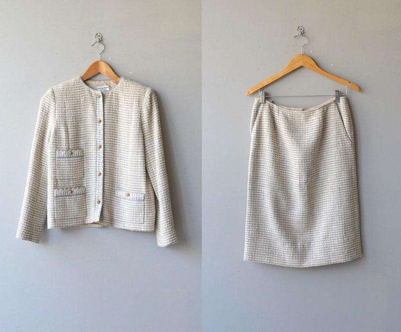 30cc26c6902f4 Chanel suit   vintage boucle jacket and skirt   vintage Chanel jacket