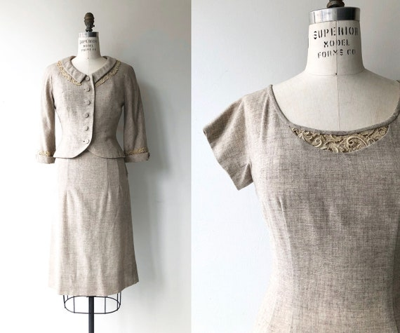 Oatmeal woven dress and jacket | 1950s dress and j