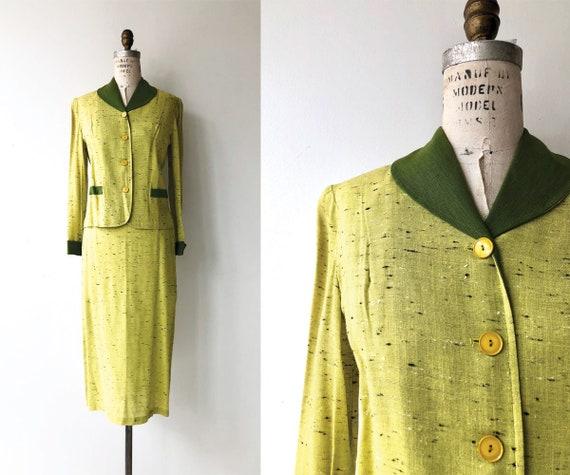 Chartreuse raw silk suit | 1950s suit | vintage 50