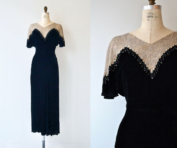 St. Aubin silk velvet gown   vintage 1930s dress  