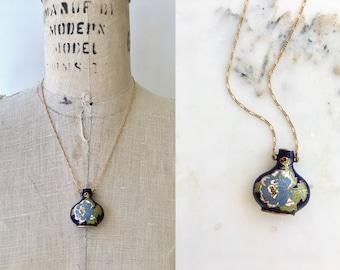 Paeonia cloisonné vinaigrette necklace | vintage 1930s cloisonné pendant