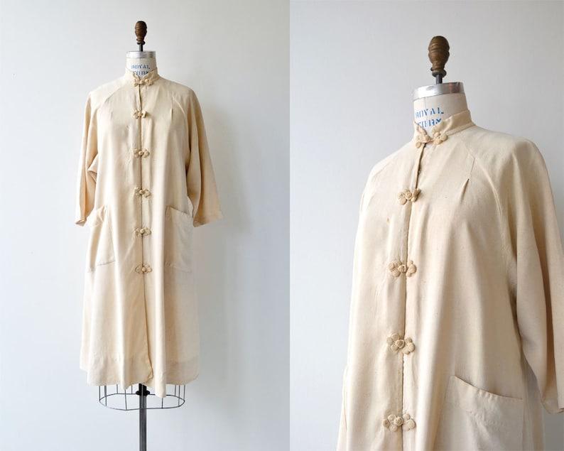 Raw Silk duster  vintage 1920s chinese jacket  cream silk image 0