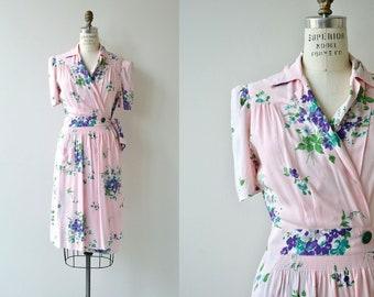 Forget Me Not wrap dress | vintage 1940s wrap dress | floral print 40s cotton dress
