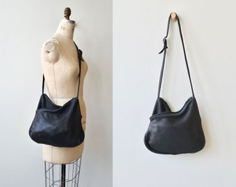 Split Infinitive bag | 1980s black leather bag | leather crossbody bag