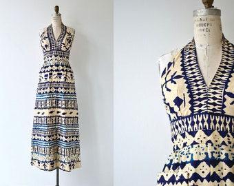 Bali Ha'i maxi dress | 1960s long halter dress | 60s tiki dress
