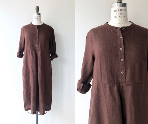 Cocoa linen dress | simple cotton dress | cotton t