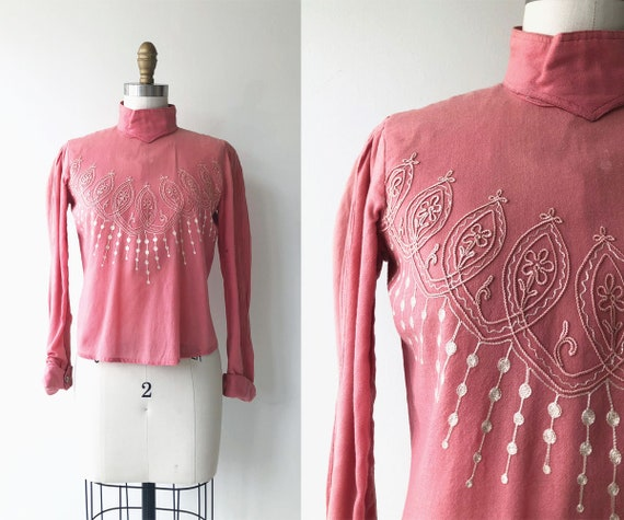 Victorian wool blouse   embroidered Victorian shir