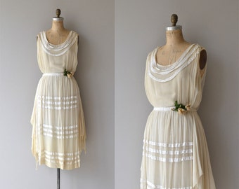 Lydian Treasure dress | vintage 1920s dress | cream silk 20s wedding dress