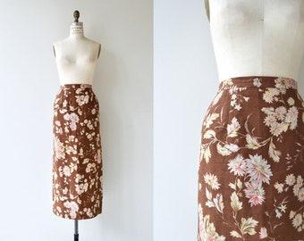 Irish Linen floral skirt | long floral skirt | floral maxi skirt