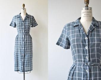 Windowpane Check dress | vintage 1950s dress | 50s cotton dress