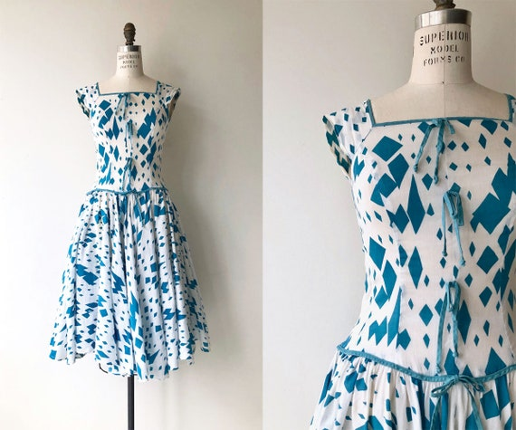 Glasshouse dress | printed 50s dress | 1950s cotto