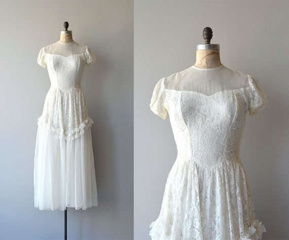 Lissome Wedding Gown Vintage 1940s Wedding Dress Lace 40s