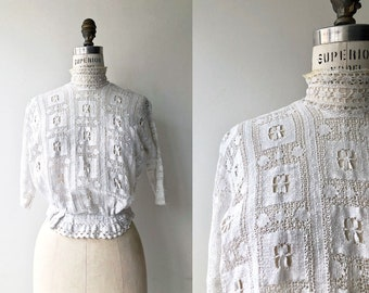 Datchet Road lace blouse   Edwardian blouse   antique cotton lace blouse