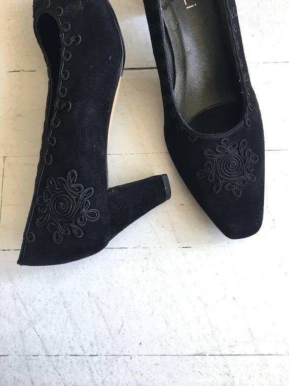 Soutache heels | vintage 1980s black pumps | blac… - image 5
