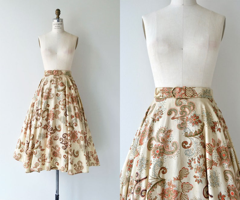 Golden Hour skirt  1950s floral cotton skirt  50s circle image 0