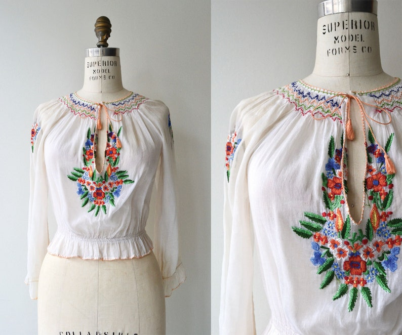 Embroidered folk blouse  1930s embroidered blouse  smocked image 0
