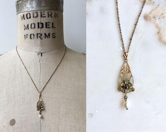 Art Nouveau 10K lavalier necklace | antique Victorian necklace