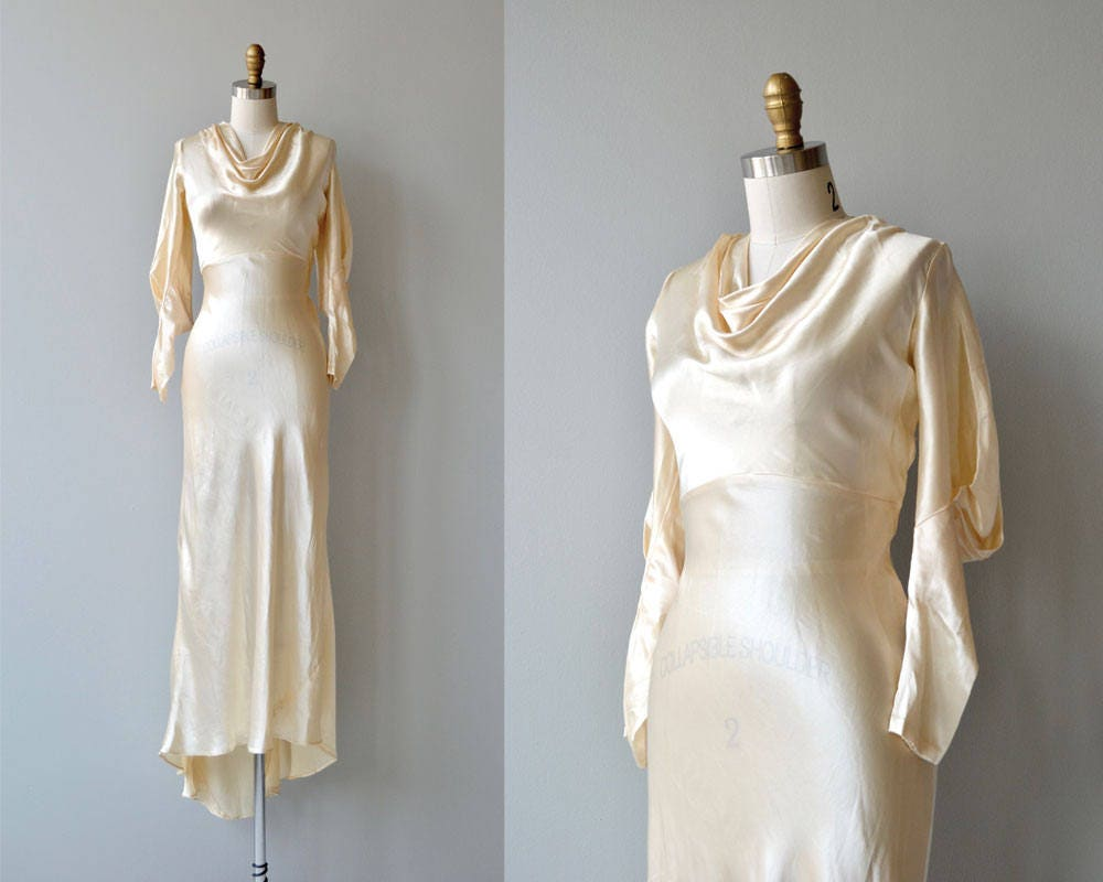 Classic Wedding Dress Satin: Adair Silk Wedding Gown Vintage 1930s Wedding Dress Bias