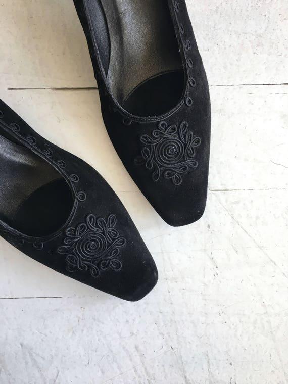Soutache heels | vintage 1980s black pumps | blac… - image 4