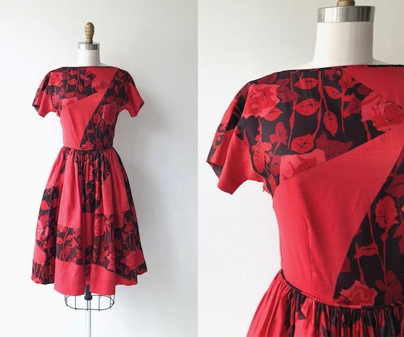 Rose Gatherer dress | 1950s floral dress | vintage