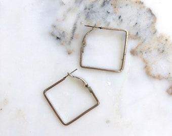 Square hoop earrings | silver hoops | square silver hoops