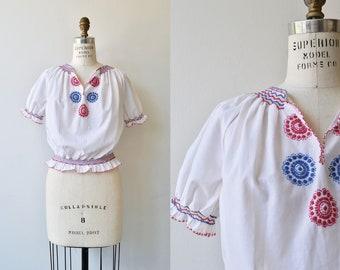 Kalotaszeg blouse | 1950s folk blouse | embroidered peasant blouse