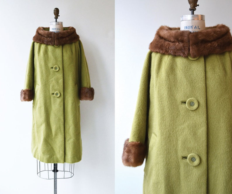 Norfolk wool and mink coat  vintage 1960s mohair coat  mink image 0